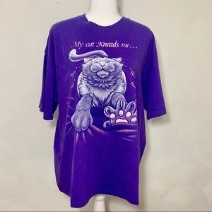 VTG Hanes My Cat Kneads Me 1994 Purple Cat Tee XL
